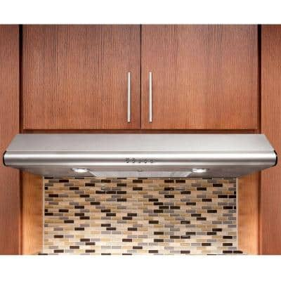 30 in. Under Cabinet Convertible Range Hood with Push Buttons in Stainless Steel