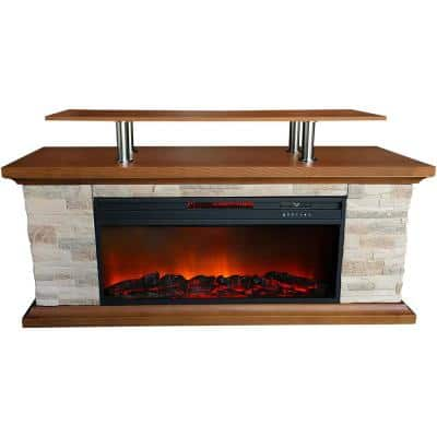 60 in. Infrared Electric Media Fireplace in Brown