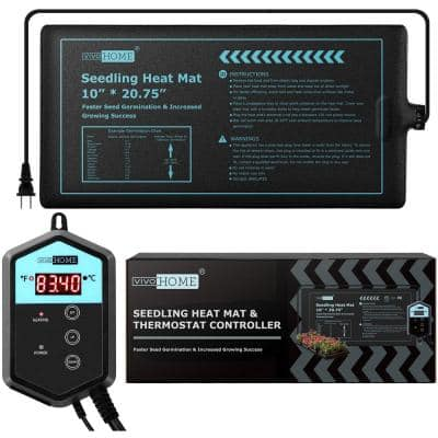 10 in. x 20.75 in. Waterproof Seedling Heat Mat with 40°F to 108°F Thermostat Controller
