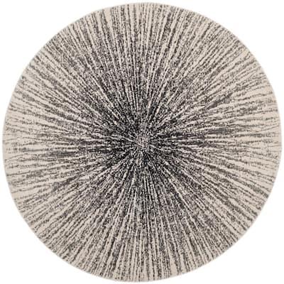 Evoke Black/Ivory 4 ft. x 4 ft. Round Area Rug