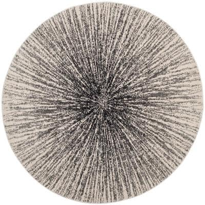 Evoke Black/Ivory 8 ft. x 8 ft. Round Geometric Area Rug