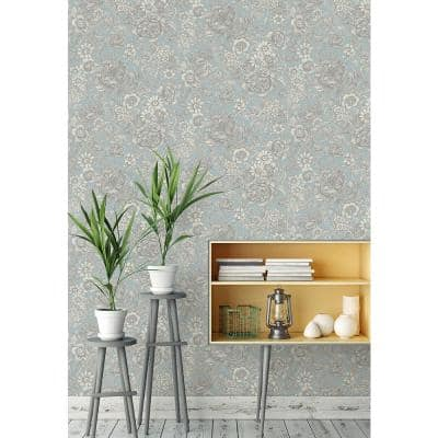 Hedgerow Light Blue Floral Trails Peelable Roll (Covers 56.4 sq. ft.)