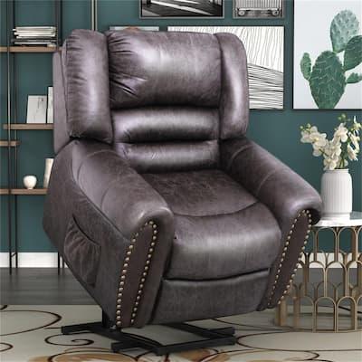 Smoky Brown Bronzing Cloth Heavy-Duty Power Lift Recliner Chair