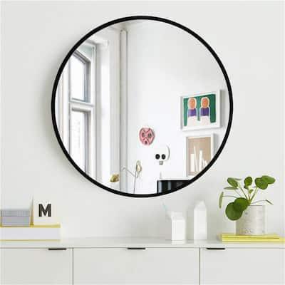 Medium Round Black Hooks Modern Mirror (31.5 in. H x 31.5 in. W)