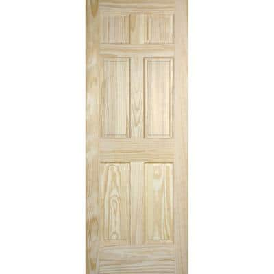 30 in. x 80 in. Radiata Smooth 6-Panel Solid Core Unfinished Pine Interior Door Slab