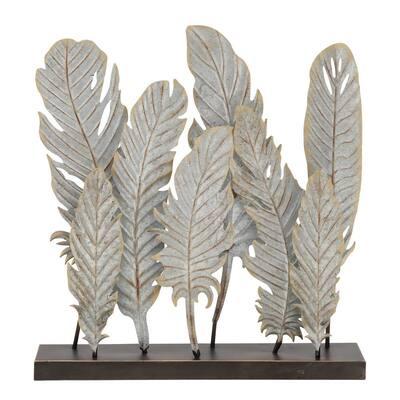 Grey Metal Contemporary Feather Sculpture