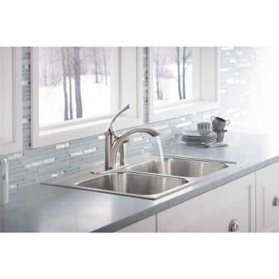 Mistos Standard Single-Handle Pull-Out Sprayer Kitchen Faucet in Vibrant Stainless Steel With Side Sprayer