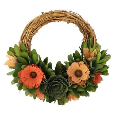 Brown and Pink Round Small Willow Wreath with Flowers and Leaves