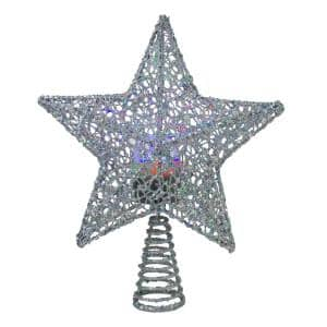 13 in. LED Lighted Silver Glittered Star with Rotating Projector Christmas Tree Topper
