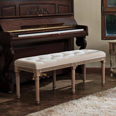 Vintage Wood Upholstered Bench with Solid Wood Legs