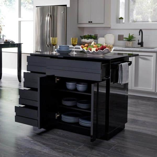 Homestyles Linear Black Kitchen Island With 2 Bar Stools And Drop Leaf 8002 948 The Home Depot