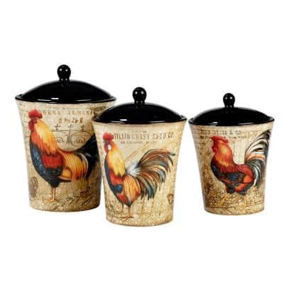 Gilded Rooster 3-Piece Traditional Multi-Colored Ceramic 48, 58, 86 oz. Canister Set