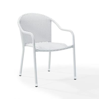 Palm Harbor 2-Piece White Outdoor Wicker Chair Set