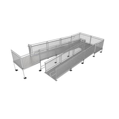 PATHWAY HD 36 ft. Aluminum Code Compliant Modular Wheelchair Ramp System with Turnback