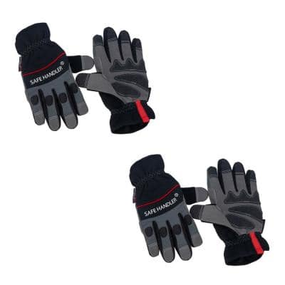 Large/X-Large, Tough Pro Grip Gloves, Knuckle Guard, Thick Protection, Non-Slip Rough Grip (2-Pairs)