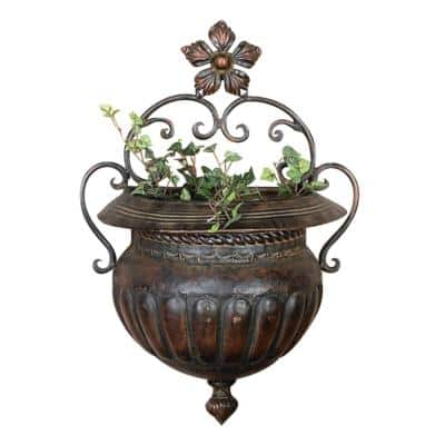 12 in. Brown Metal Traditional Planter