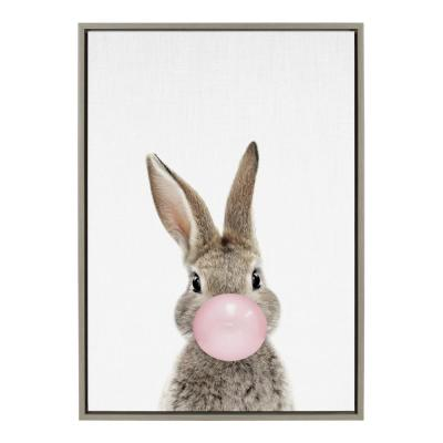 """Sylvie """"Bubble Gum Bunny"""" by Amy Peterson Art Studio Framed Canvas Wall Art 33 in. x 23 in."""