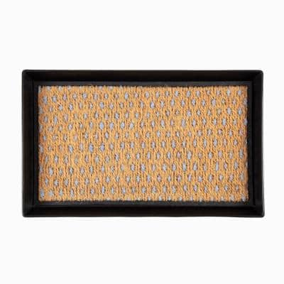 24.5 in. x 14 in. x 1.5 in. Black Metal Boot Tray with Tan & Blue Coir Insert