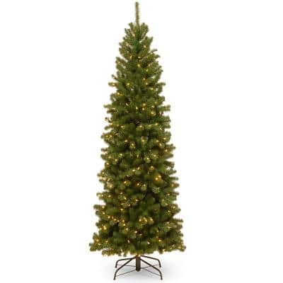 9 ft. North Valley Spruce Pencil Slim Artificial Christmas Tree with Clear Lights