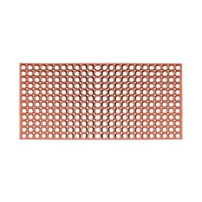 Round Hollow Terracotta 19.6 in. x 39.3 in. Rubber Grill Indoor/Outdoor Heavy Duty Doormat