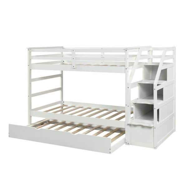 White Twin Over Trundle Bunk Bed, Bunk Bed With Trundle And Storage Drawers