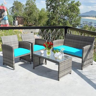 Costway 4-Piece Wicker Patio Conversation Outdoor Sofa Garden Coffee Table Set w/ Turquoise Cushions