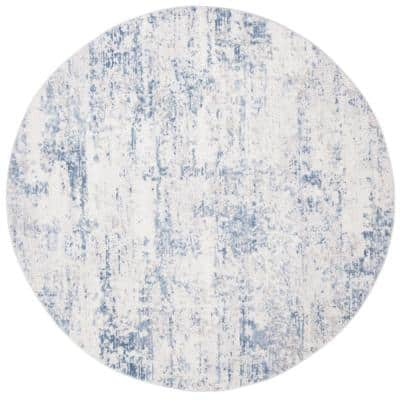 Amelia Ivory/Blue 9 ft. x 9 ft. Round Distressed Abstract Area Rug