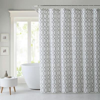 Shoretown Trellis Gray Cotton 72in. X 72in. Shower Curtain