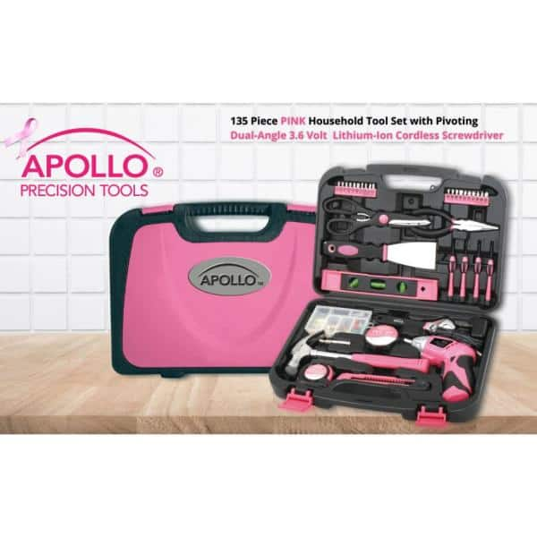Apollo 166-Piece Home Tool Kit in Pink-DT166n16 - The Home Depot