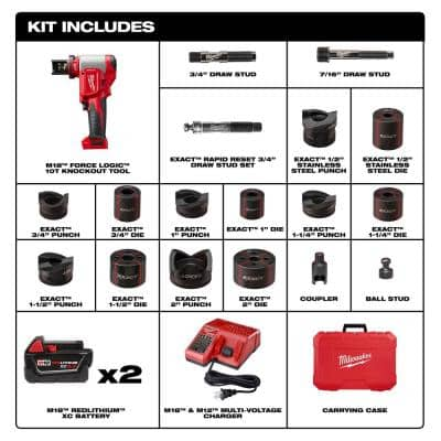 M18 18-Volt Lithium-Ion 1/2 in. - 2 in. Force Logic High Capacity Cordless Knockout Tool Kit /W Die Set, 3.0Ah Batteries