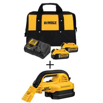 20-Volt 1/2 Gal. MAX Lithium-Ion Wet/Dry Portable Vacuum with Premium Battery Pack 5.0 Ah (2-Pack), Charger and Kit Bag