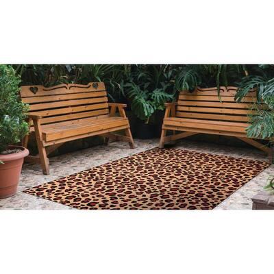 Brown/Black 6 ft. x 8 ft. Animal Print Leopard Indoor/Outdoor Area Rug