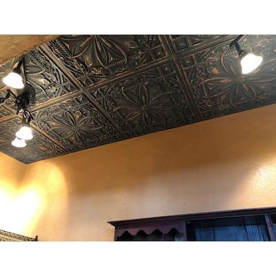 Milan 2 ft. x 2 ft. Glue Up PVC Ceiling Tile in Graphite Gold