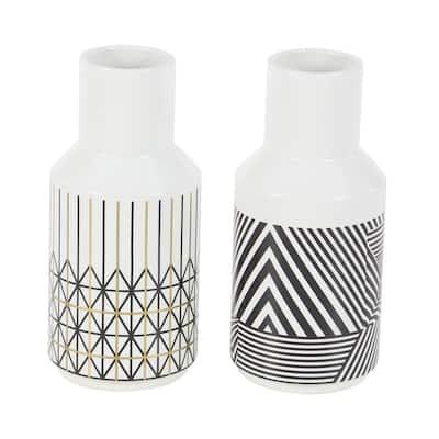 White Dolomite Contemporary Decorative Vase (Set of 2)