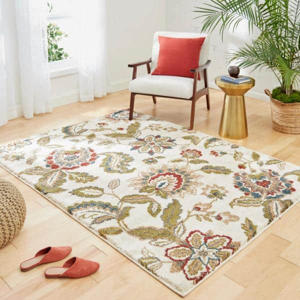 Home Decorators Collection Lucy Cream 5 Ft X 7 Ft Area Rug 557416 The Home Depot