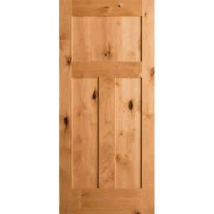 36 in. x 80 in. Krosswood Craftsman 3-Panel Shaker Solid Wood Core Rustic Knotty Alder Interior Door Slab