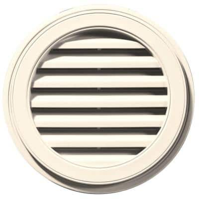 22 in. x 22 in. Round Beige/Bisque Plastic Weather Resistant Gable Louver Vent