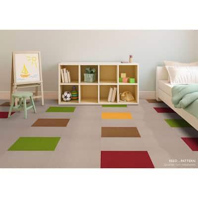 Reed Yellow Loop 19.68 in. x 19.68 in. Carpet Tiles (8 Tiles/Case)