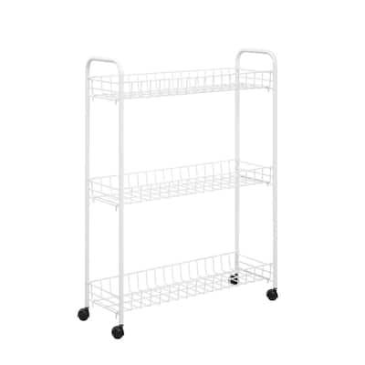 3-Tier Rolling Steel Household Storage Cart in White