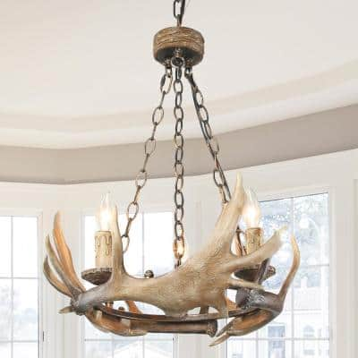3-Light Brown Indoor Antler Pendant