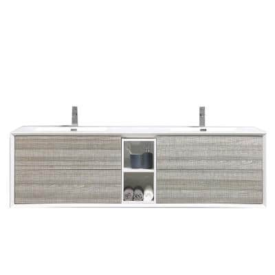 Vienna 74.80 in. W x 20.70 in. D x 21.60 in. H Vanity in White-Oak with Acrylic Vanity Top in White with White Basin