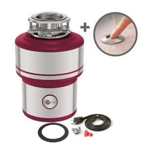 Evolution Supreme SS Stainless Steel 1 HP Continuous Feed Garbage Disposal with Power Cord Kit & SinkTop Switch