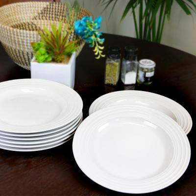 Plaza Cafe 10.5 in. White Dinner Plate Set (Set of 8)