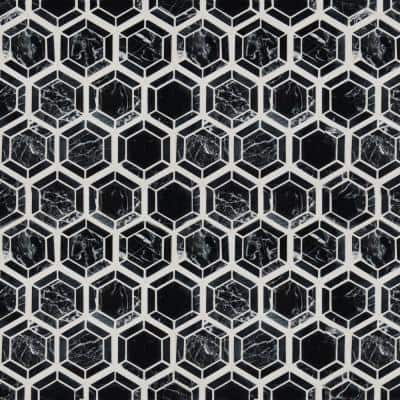 Hexagono Nero 13.25 in. x 11.5 in. x 10mm Polished Marble Mesh-Mounted Mosaic Tile (10.6 sq. ft. / case)
