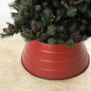 22 in. D Painted Red Metal Tree Collar