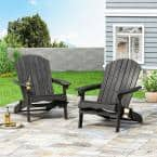Lissette Dark Gray Foldable Wood Adirondack Chair (2-Pack)