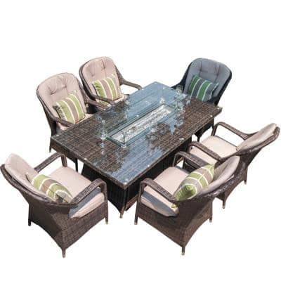 Irene Brown 7-Piece Rectangular Wicker Outdoor Gas Fire Pits Set with 6 Chairs and Beige Cushions