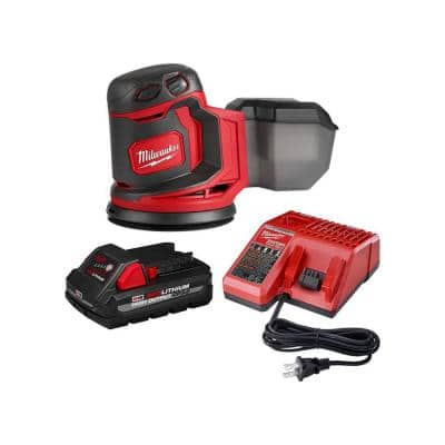 M18 18-Volt Lithium-Ion Cordless 5 in. Random Orbit Sander W/ 3.0Ah Battery and Charger