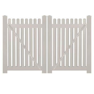 Provincetown 10 ft. W x 5 ft. H Tan Vinyl Picket Fence Double Gate Kit Includes Gate Hardware