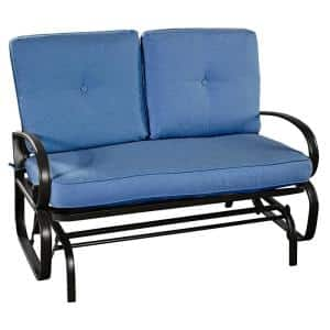 Metal Rocking Bench Outdoor Loveseat with Blue Cushions
